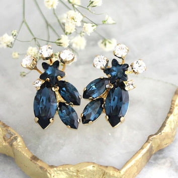 Blue Navy Earrings, Navy Blue Studs, Dark Blue Earrings, Blue Crystal Bridal Earrings, Blue Swarovski Crystal Earrings, Bridesmaids Earrings