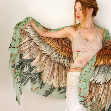 Modal Green Women scarf, Hand painted Wings and feathers, stunning unique and useful, perfect gift