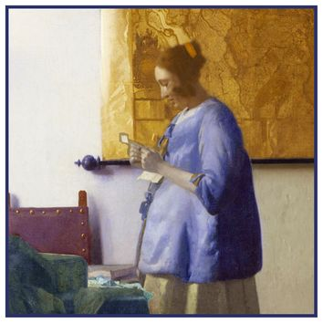 Girl Reading a Letter  by Johannes Vermeer Counted Cross Stitch or Counted Needlepoint Pattern