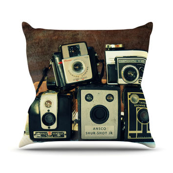 "Robin Dickinson ""Through the Years"" Vintage Camera Outdoor Throw Pillow"