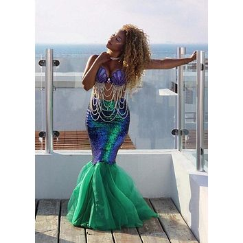Drop shipping Hotsale Sexy Mermaid Womens adult costume Halloween Costume Fancy Party Sequins Long Tail Full Skirt