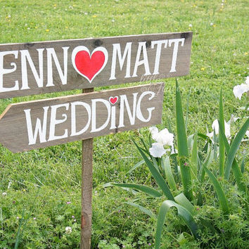 Wooden Directional Sign, Rustic Wood Wedding Sign, Wedding Signs, Farm Wedding Decor, Hand Painted Wedding Signs, Wood Country Wedding Sign