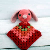 Crochet Lovey, Valentine Baby Bunny Lovey, Security Blanket
