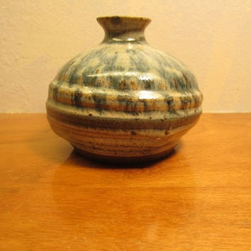Off White  with Blue Accent Decorative Pottery Vase