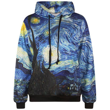 Starry Night men's 3d sweatshirt fashion print Van Gogh oil painting hooded hoodies lovely tracksuits hoody with pockets