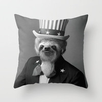 Life as an American Sloth Throw Pillow by Kalli McCleary | Society6