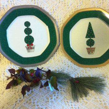 Christmas Topiary Plates Mikasa Vintage Fine China Octagonal Holiday Platters Green Red Silver Gold Lunch Accent Dishes Set of 2 New in Box