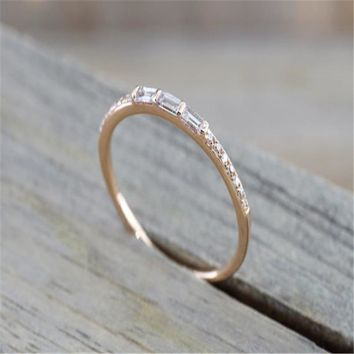 Rose Gold color Round Brilliant And Baguette Cut Crystal Ring Engagement Wedding Band Promise Fashion Design Stackable Stacking