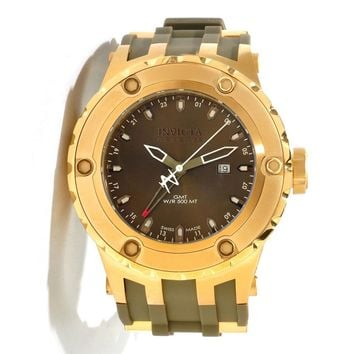 Invicta 12039 Men's Reserve Subaqua Diver Olive Green Dial Rubber Strap Gold Tone Stainless Steel GMT Dive Watch