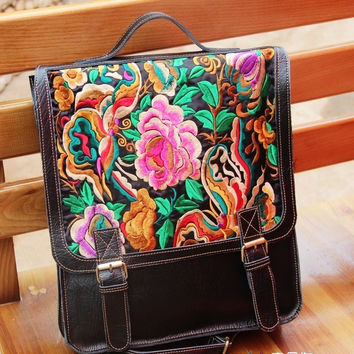 Handcrafted Flower Genuine Leather Embroidered Backpack
