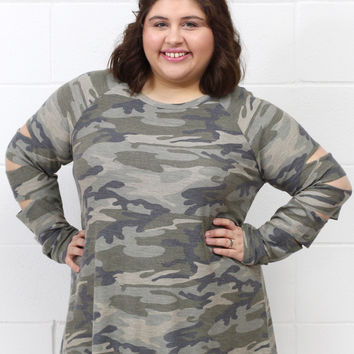 Curvy: Washed Camo Slitted Sleeves French Terry Top {Olive Mix}