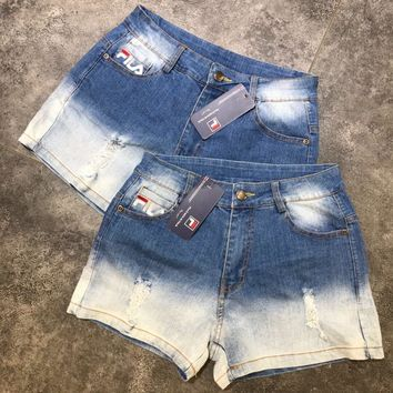 """""""FILA"""" All-match Personality Letter Embroidery Denim Shorts Jeans Hot Pants"""