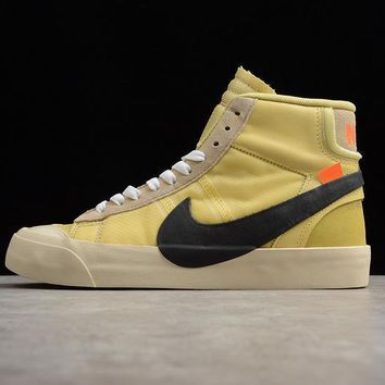 Off-White x Nike Blazer Studio Mid Canvas/Pale Vanilla-Black-Total Orange The Ten