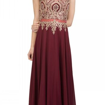 Burgundy Appliqued Long Formal Dress with Bateau Neckline