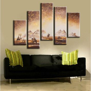 5 Panel Wall Art Pictures Egypt Pyramids & Camels Landscape Oil Painting Canvas Art Hand Painted Abstract Scenery Paintings Sets