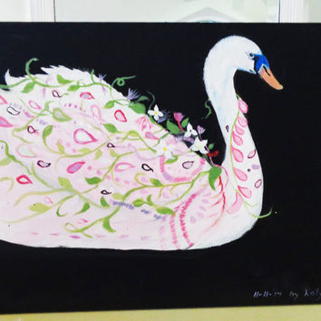 Swan Painting- Original Mixed Media- Artwork On Canvas- Whimsical Cottage Decor- 12X16 inches