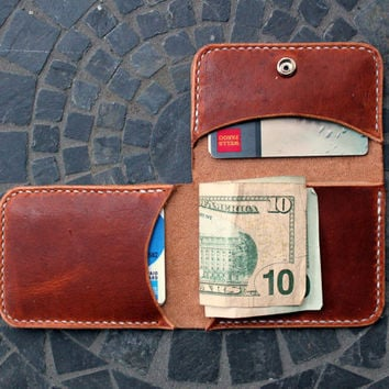 Men's Slim Tri-fold Leather Wallet / Handcrafted / Handstitched / Made in America / Custom Thread / Groomsman Gifts / Horween Leather