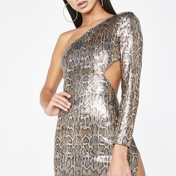On The List Snake Sequin Dress
