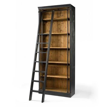 ROYCE BOOKCASE MATTE BLACK WITH LADDER