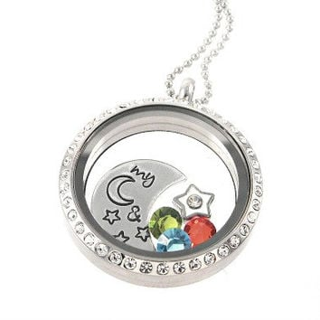 My Moon & Stars Living Locket - Floating Locket - Memory Locket