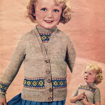 INSTANT SWEATER SET Knitting Pattern - Twin Sweater Set for  2 to 6 year old Girls - Fair Isle Border - 3 Ply - Kenyon Download Pdf 0391