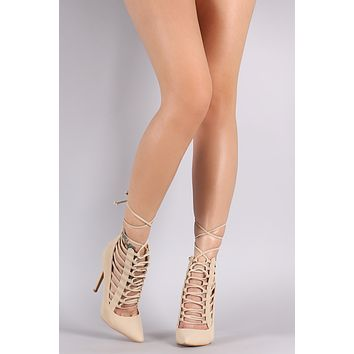 Shoe Republic LA Pointy Toe Caged Lace-Up Pump
