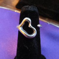 Tiffany & Co. Elsa Peretti Open Heart Ring Sterling Silver 925, Size 5 3/4