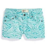 Girl's Roxy Print Denim Shorts,