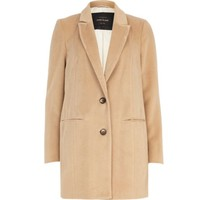 Camel drawn wool-blend coat