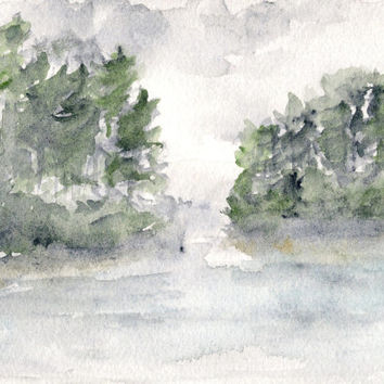 Watercolor painting, watercolor landscape, abstract landscape, landscape painting, original painting, forest painting, watercolor lake, 7X5