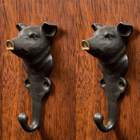 Cast Pewter Pig Hook with Gold Nose (Set of 2)