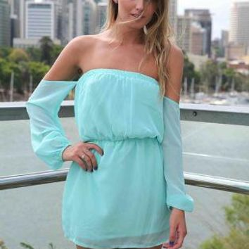 Teal Flowy Off the Shoulder Dress with Sheer Sleeves