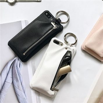 Phone Case with Leather wallet & Key Ring For iPhone 7, 7 Plus