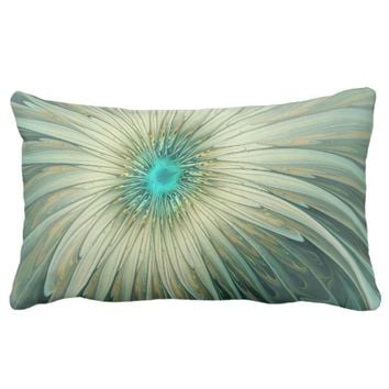 Modern Abstract Fantasy Flower Turquoise Wheat Lumbar Pillow