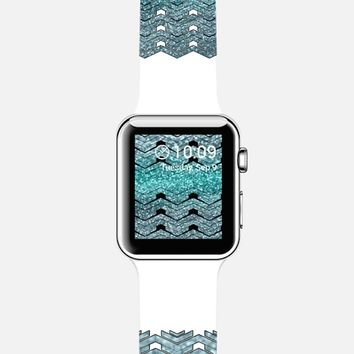 Glitters teal chevron Apple Watch Band case by VanessaGF | Casetify