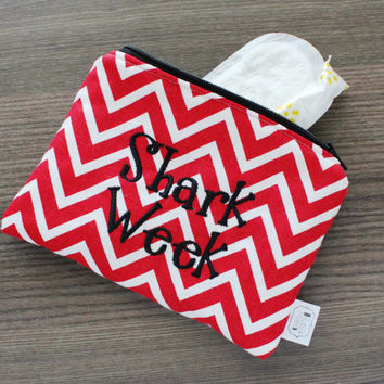 Shark Week- red chevron- ladies zipper pouch - feminine products - tampons - pads clutch - FREE SHIPPING