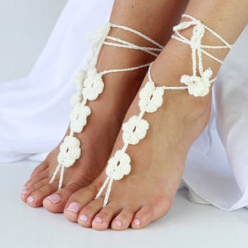 Ladies Crochet Barefoot Sandals, Ivory - Style name: 'Daisy'