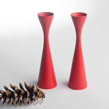 Mid-Century turned wood candle holders, bright red made in Sweden