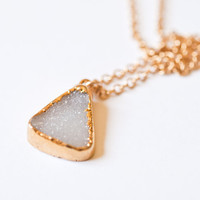 White Druzy Necklace Crystal Druzy Pendant 14k Gold Fill Chain