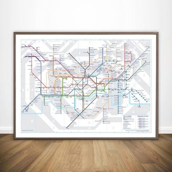 London Tube map Movie Wall Art Paint Wall Decor Canvas Prints Canvas Art Poster Oil Paintings No Frame