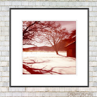Pink Winter Landscape in Upstate New York - 8x8 / 10x10 Square Fine Art Photo Print