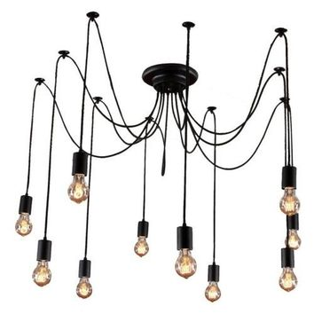 Edison Pendant Light Chandelier 10 Pendants - Bulbs Included, Matte Black