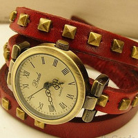 Studded Leather Vintage bronze Bracelet Watch-wine red