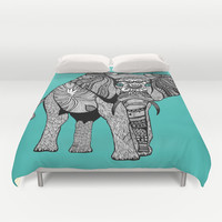Tribal Elephant Black and White Version Duvet Cover by Pom Graphic Design