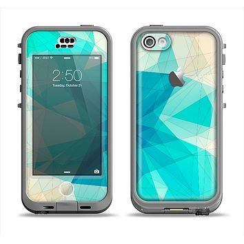The Vector Abstract Shaped Blue Overlay V2 Apple iPhone 5c LifeProof Nuud Case Skin Set
