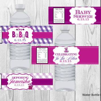 BabyQ Baby Shower Water Bottle Labels/BBQ Baby Shower Water Bottle Labels/Baby Shower/Water Bottle Labels/Printables/Digital