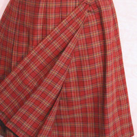 School Girl Red Plaid Skirt Geoffrey Beene Sport Wrap Around Small Size Waist 27""