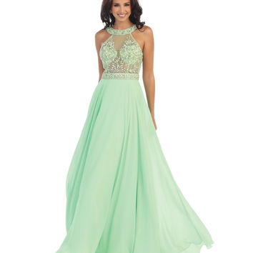 Mint Sheer Beaded Bodice Halter Chiffon Dress 2015 Homecoming Dresses