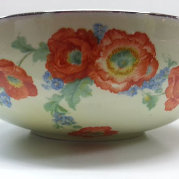 Hall's Orange Poppy Round Bowl Superior Quality Kitchenware USA Porcelain Platinum Trim 9""