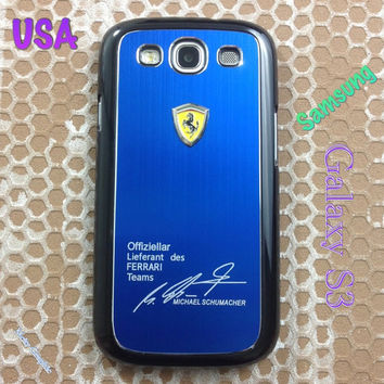 Ferrari Samsung Galaxy S3 Case Ferrari 3D Metal Logo With Aluminum Cover for S3 / i9300 - F1 Blue